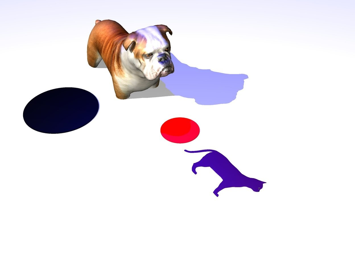 Input text: the large dog is 12 inches in the snow. a blue light is 3 feet above it. a black circle is 5 inches left of the dog. it is on the ground. a small red circle is in front of the dog. it is on the ground. a .1 inch wide purple cat is two inches in front of the red circle.  it is 14 inches tall. it is leaning 90 degrees to the left.