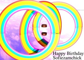 There is an enormous cake. A  rainbow is 10 feet inside the cake on the ground.it is facing west.there is a huge candle inside the cake. the ground is silver. the cake is [texture]. 2nd rainbow is next to the rainbow. it is facing east. 3rd rainbow is 50 feet inside the 2nd rainbow. it is facing southeast. 4th rainbow is 50 feet inside the 2nd rainbow. it is facing northwest. ambient light is pink.