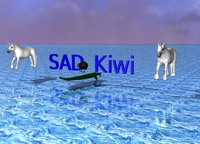 "The Kiwi. The Surfboard under the kiwi. The water ground. The blue ""SAD Kiwi"" behind the kiwi. The little pink unicorn two meters  right of the kiwi.  The little pink unicorn two meters  left of the kiwi."