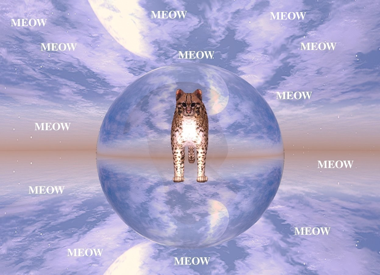 Input text: There is an enormous clear sphere.A  4 foot tall cat is 6 feet  inside the sphere. The sphere is fifty feet above the ground.The ground is silver. There is a big white light in front of the cat.the light is facing the cat. the ambient light is pink. It is dawn. The cat is facing south.