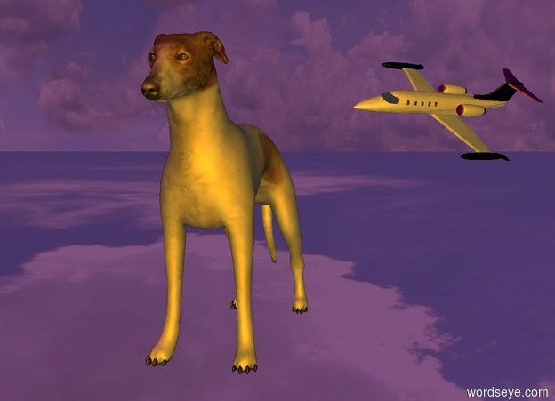 Input text: the dog is on the invisible ground. the jet is 100 feet behind it. it is facing southwest. it is leaning 40 degrees to the left. the sun is purple.  the camera light is orange