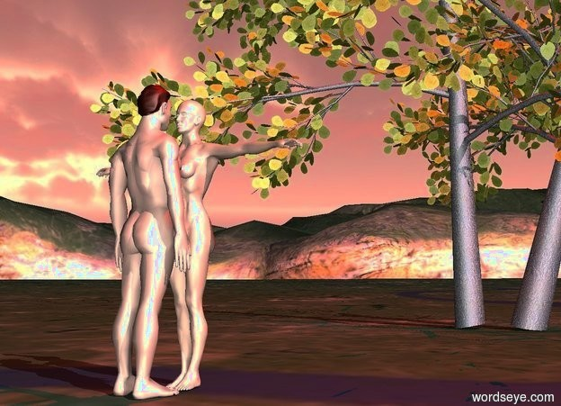Input text: a man.a woman.the woman is in front of the man.the woman is facing the man.the sun is pink.a tree is 3 feet in front of the man.a red light is above the tree.