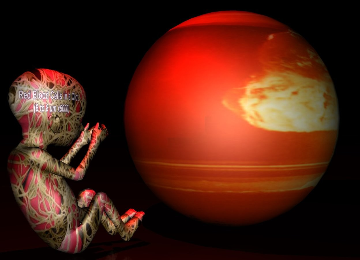 Input text: The ground is [blood]. The sky is [nuclear]. A fetus is [blood]. The tiny earth is in front of the fetus. The earth is [nuclear].  A red light is above the fetus. It is night.
