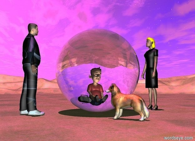 Input text: a 15 feet tall clear glass sphere.a boy is 12 feet in the sphere.a radio is left of the boy.a white light is in front of the boy.a 15 feet tall man is 2 feet left of the sphere.the man is facing the sphere.a 14.5 feet tall woman is 3 feet right of the sphere.the woman is facing the boy.the woman's hair is yellow.the boy's shirt is red.the man is texture.a 5 feet tall dog is in front of the sphere.the dog is facing northwest.the ground is grass.the sun's altitude is 85 degrees.the sun is violet.