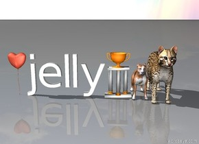 dog and cat. trophy. jelly. love