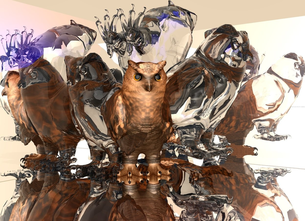 Input text: the ground is silver. a clear 1st owl. a 2nd owl  is -5 inch to right of the 1st  owl. the 2nd  owl is clear. 2nd owl faces up. the 2nd owl is 3 inches above the ground.a 3rd owl is -8 inches to right of the 1st owl. 3rd owl is clear. 3rd owl is facing right. the 3rd owl is 3 inches above ground.a tiny wall is 3 inches behind the 1st owl. the wall is silver. the wall is on the ground.a 2nd tiny wall is to left of the 1st owl. 2nd wall is facing right. 2nd wall is silver.  2nd wall is on the ground.the ambient light is old gold. the sky is igloo blue. a 4th owl is on the ground.a dark red light is -1 inch above the 3rd owl.it is noon.the 4th owl is 16 inch tall.the owl is -20 inch left of the 1st owl.the 4th owl is facing southeast.the camera light is white.a blue light is in the 1st owl.