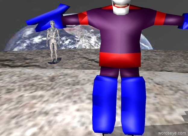Input text: a shiny silver man. the man is 300 feet off the ground. the ground is [rock] texture. the texture is 3000 feet tall. the sky is [erf] texture. the texture is 2500 feet tall. a 400 foot tall goalie is 500 feet north of the man. the goalie is on the ground. the goalie is purple. a shiny silver surfboard is below the man.