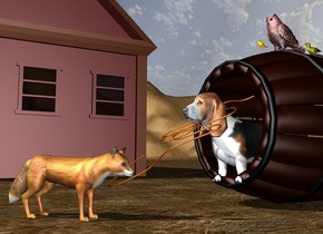 the big barrel is leaning 90 degrees to the right. the big hound is -5 feet above the barrel. it faces left. it is -3.2 feet to the left of the barrel. the big fox is 3.8 feet to the left of the barrel. it is on the ground. it faces southeast. the rope is -2.5 feet to the left of the hound. it faces front. it leans 30 degrees to the right. the big brown cabin is 20 feet behind the fox. the ground is matte dirt. the maroon owl is on top of the barrel. it faces left. the orange sparrow is to the left of the owl. it faces left. the tiny olive albatross is to the right of the owl. it faces left.