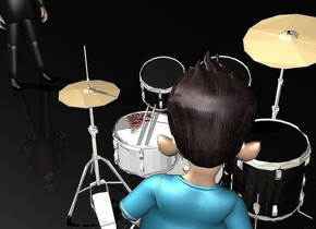 the drum kit. the ground is black. the sky is black. the boy is in front of the drum kit. he is facing back. the man is 3 feet behind and 3 feet to the left of the drum kit. he is facing southeast. the snare drum of the drum kit has a [blood] texture. the [blood] texture is 2 feet tall.