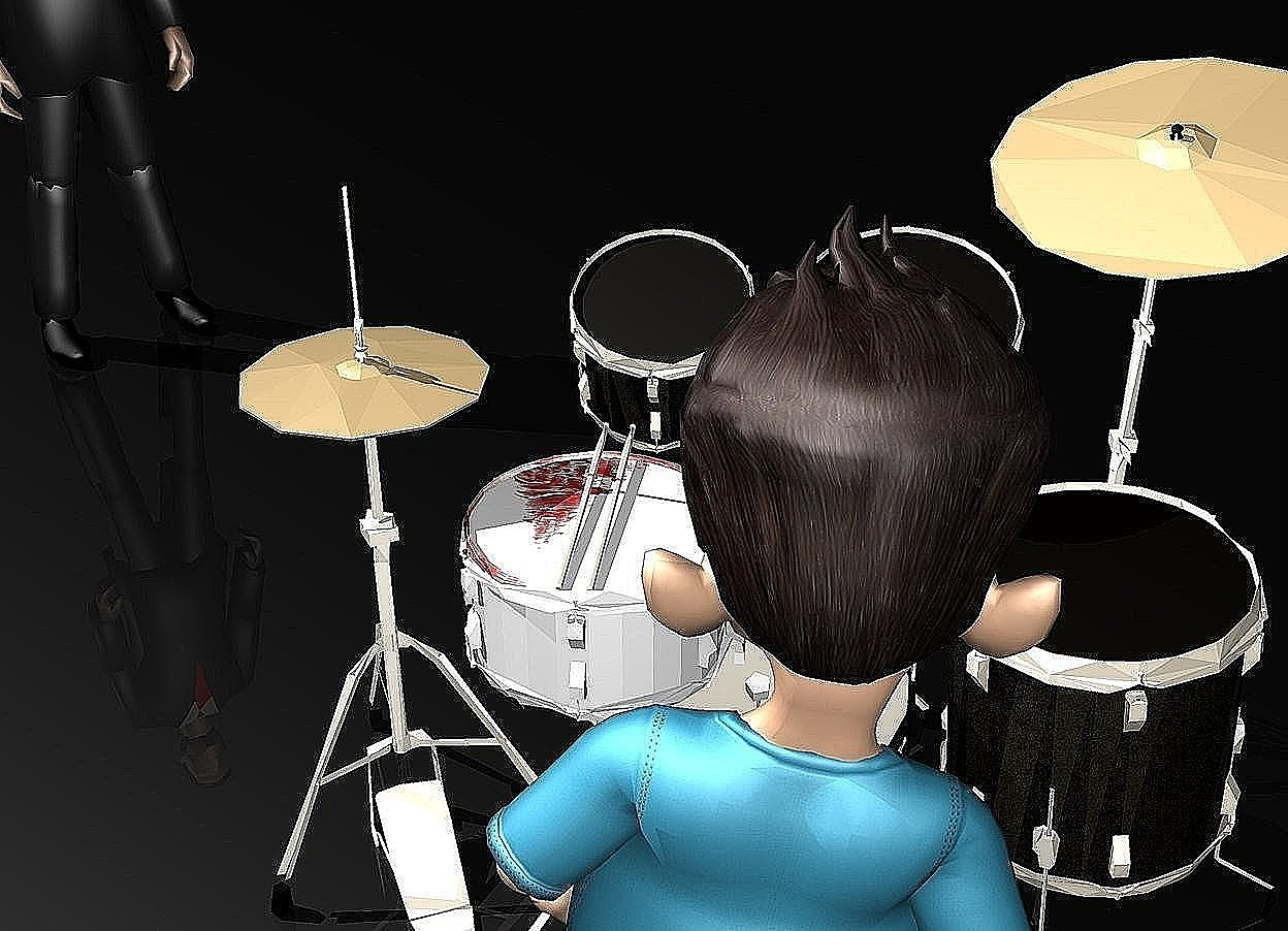 Input text: the drum kit. the ground is black. the sky is black. the boy is in front of the drum kit. he is facing back. the man is 3 feet behind and 3 feet to the left of the drum kit. he is facing southeast. the snare drum of the drum kit has a [blood] texture. the [blood] texture is 2 feet tall.