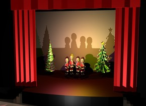 there is a huge stage. the first santa claus is -35 feet above the stage. he is 8 feet tall and 3 feet wide. he is facing southwest. the first huge head is -2.3 feet above the first santa claus. the hair of the first huge head is bright red orange. the second santa claus is -1.5 feet to the right of the first santa claus. he is 7 feet tall and 3 feet wide. he is facing southeast. the second huge head is -1.6 feet above the second santa claus. the hair of the second huge head is bright yellow. the black wall of the stage. the red curtain of the stage. the third santa claus is -8 inches to the left of the first santa claus. he is 8.5 feet tall and 3 feet wide. he is facing southeast. the third huge head is -1.8 feet above the third santa claus. the hair of the third huge head is bright yellow. the fourth santa claus is -1.5 feet to the left of the third santa claus. he is 7 feet tall and 3 feet wide. he is facing southwest. the fourth huge head is -1.6 feet above the fourth santa claus. the first big christmas tree is 5 feet to the left and 1 foot behind the fourth santa claus. the second big christmas tree is 5 feet to the right and 1 foot behind the first santa claus. the ground is wood. the staircase of the stage is wood. the yellow light is 3 feet in front and 3 feet above the second santa claus. the hot pink light is 3 feet in front and 3 feet above the fourth santa claus. the matte wall of the stage is unreflective. the bright white light is 6 feet in front and -40 feet above the stage. the camera light is black.