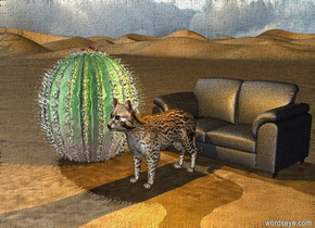 a cat is in front of the sofa.  the sofa is in the desert.  the large cactus is a foot to the left of the cat.  an orange light is above the cat.