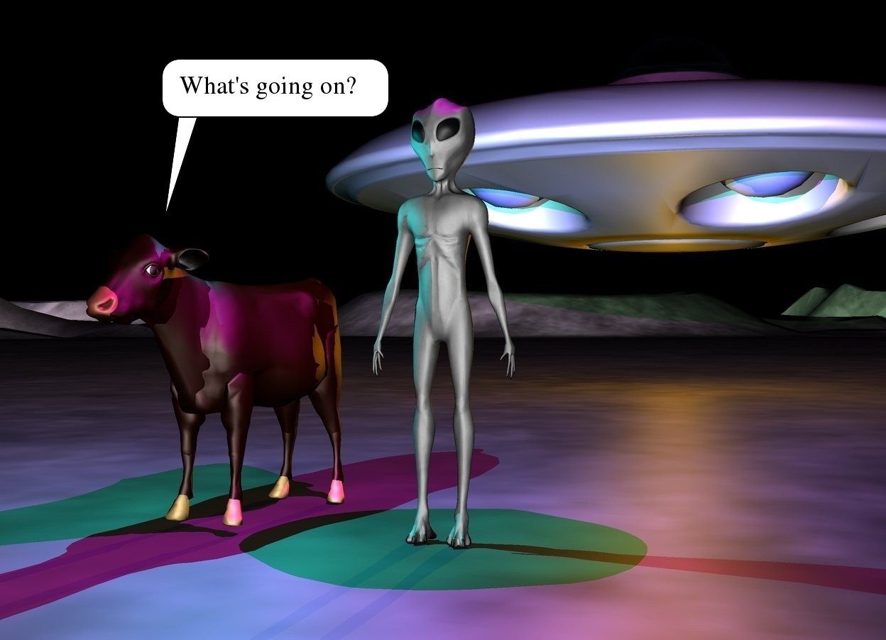Input text: alien is on the moonscape. a cow is a foot to the left of the alien.  the spaceship is 10 feet behind the cow.  it is night. the magenta light is above the alien. a cyan light is above the cow.  the spaceship is 4 feet above the ground.   a orange light is a foot under the spaceship
