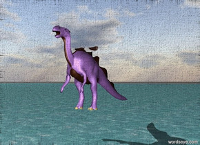 large wings are on a lavender dragon 10 feet above an ocean