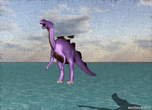 Input text: large wings are on a lavender dragon 10 feet above an ocean