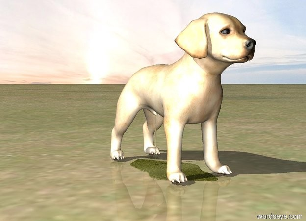 Input text: The ground is grass. A transparent cylinder is -0.4 meters above the dog. The cylinder is 0.25 centimeters wide. The cylinder is -11.75 centimeters behind the dog. The dog is standing on a 10 centimeter wide yellow lake.