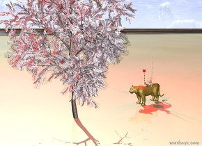 The extremely large nose is on top of a tiger. A sword is to the right of the nose. A branch is to the left of the nose. The sky texture is in the sky in front of the nose. An almond tree is in front of the tiger. There is a red light above the nose. The ground is a mirror.