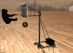 There is a giant basketball hoop. There is a tiny chimpanzee in front of the basketball hoop.  The chimpanzee is facing the basketball hoop. The chimpanzee is 2.4 feet off the ground. The chimpanzee is facing up. There is a small basketball -1 feet in front of the basketball hoop. The basketball is 2 feet off the ground. The ground is wood.