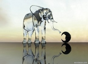 a glass elephant sits on the ground. the ground is black and shiny. the elephant faces the black glass moon. the moon faces the elephant