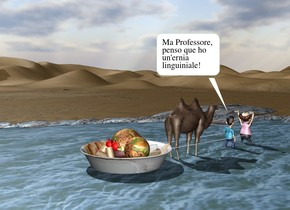 the river is on the desert. it is 200 feet deep and 80 feet long.  the small camel is in the river. it is facing backwards. the very huge [italy] bowl is in front of the camel. it is 6 inches in the river. the huge entirely red poop is in the bowl. the large [meat] sphere is 2 feet in the poop. another small [meat] ball is -1.8 feet above and -6 inches to the right of the sphere. the first tan tube is -6 inches to the right of the sphere. it is leaning 90 degrees to the right. a second tan tube is 2 inches behind the first tube. it is leaning 60 degrees to the left. a third tan tube is 2 inches behind the second tube. it is leaning 50 degrees to the back. a fourth tan tube is -3 inches in front of and -1.8 feet above the poop. it is leaning 40 degrees to the back. a fifth tan tube is to the right of the fourth tube. it is leaning 60 degrees to the front. the sixth tan tube is to the right of the fifth tube. it is leaning to the right. the seventh white tube is to the right of the camel. it is 1 foot above the ground. it is leaning 90 degrees to the back. it is 10 feet tall and .5 inches wide. the eighth white tube is to the left of the camel. it is 1 foot above the ground. it is leaning 90 degrees to the back. it is 10 feet tall and .5 inches wide. the small first man is 1 foot in back of the camel. he is facing back. another small man is a foot behind the first man. he is facing back.