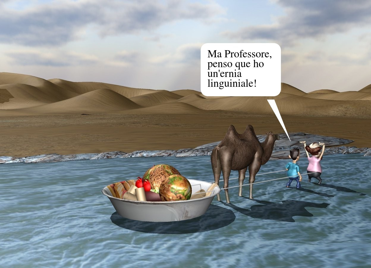 Input text: the river is on the desert. it is 200 feet deep and 80 feet long.  the small camel is in the river. it is facing backwards. the very huge [italy] bowl is in front of the camel. it is 6 inches in the river. the huge entirely red poop is in the bowl. the large [meat] sphere is 2 feet in the poop. another small [meat] ball is -1.8 feet above and -6 inches to the right of the sphere. the first tan tube is -6 inches to the right of the sphere. it is leaning 90 degrees to the right. a second tan tube is 2 inches behind the first tube. it is leaning 60 degrees to the left. a third tan tube is 2 inches behind the second tube. it is leaning 50 degrees to the back. a fourth tan tube is -3 inches in front of and -1.8 feet above the poop. it is leaning 40 degrees to the back. a fifth tan tube is to the right of the fourth tube. it is leaning 60 degrees to the front. the sixth tan tube is to the right of the fifth tube. it is leaning to the right. the seventh white tube is to the right of the camel. it is 1 foot above the ground. it is leaning 90 degrees to the back. it is 10 feet tall and .5 inches wide. the eighth white tube is to the left of the camel. it is 1 foot above the ground. it is leaning 90 degrees to the back. it is 10 feet tall and .5 inches wide. the small first man is 1 foot in back of the camel. he is facing back. another small man is a foot behind the first man. he is facing back.