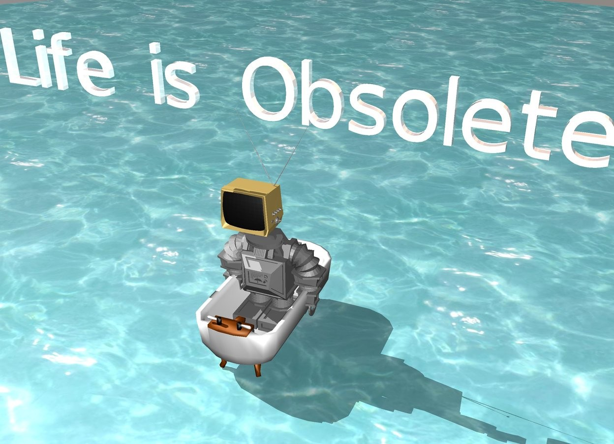 "Input text: the small gray robot is sitting in a bathtub. The robot faces south. The bathtub faces North.The bathtub is on water. There is a TV on top of  the robot. The shiny white ""Life is Obsolete""  is above the TV."