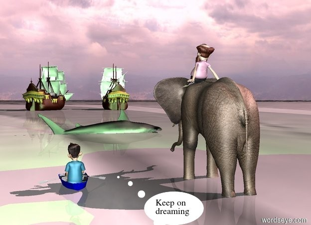 Input text: a 14 feet tall elephant.a man is -9 inches above the elephant.the ground is water.the elephant is 1 feet in the ground.a boat is 6 feet right of the elephant.a boy is in the boat.the boat is on the ground.the sun is pink.a green light is in front of the man.a 10 feet tall fish is 50 feet in front of the elephant.the fish is facing left.the fish is 3 feet in the ground.a ship is 200 feet in front of the fish.the ship is facing southwest.a galleon is 15 feet left  of the ship.