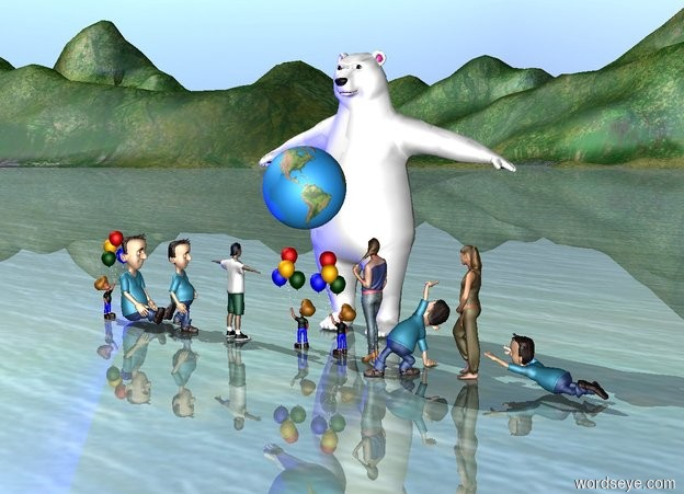 Input text: the big world is 2 inches above the 10 children. the 10 children are facing the sky. the strong blue light is facing up. the big bear is behind the children