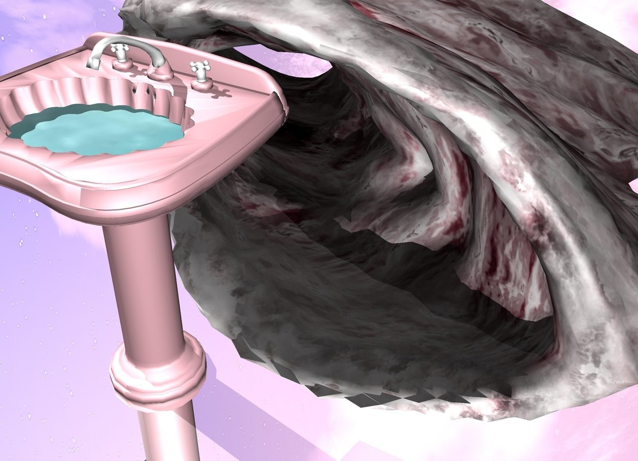 Input text: A pink sink. small water is 150 centimeters inside the sink. ground is silver. a big pink wave is behind the sink in the ground.