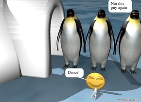3 penguins. there is a foot 2 feet in front of the penguins. a small emoji is behind the foot. an igloo is on the left of the penguins. the igloo is facing east.