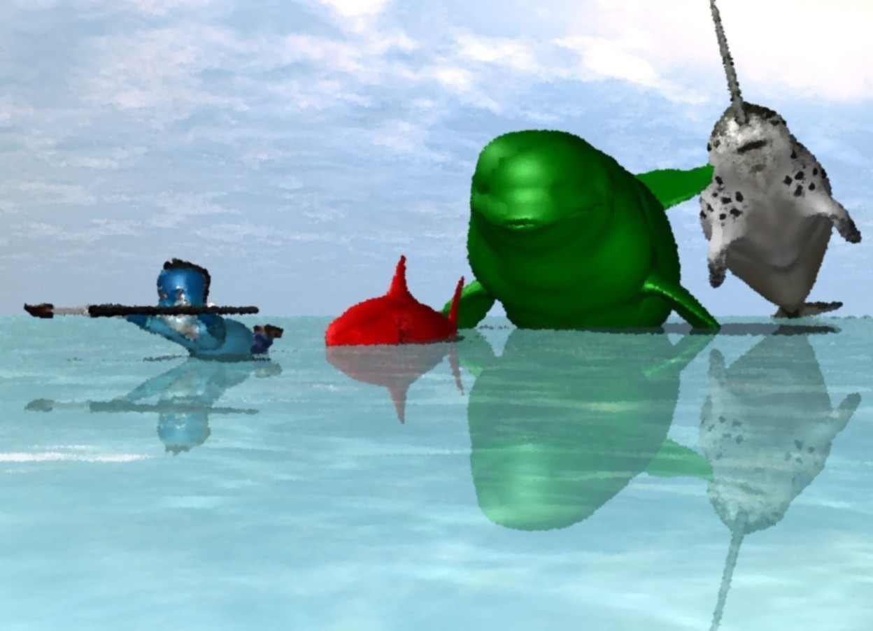 Input text: the [water] man is 4 inches in the water ground. the large red shark is 4 feet behind the man. it is 2 foot in the ground. the very large solid green beluga whale is 10 feet behind the shark. the very enormous second whale is 110 feet behind and -12 feet to the right of the beluga whale. it is 7 feet in the ground.  the very huge paintbrush is in front of the man. it is 9 inches above the ground.