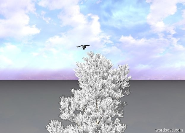 Input text: the crow is above a snow covered pine tree