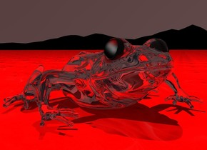 There is a giant white glass toad on a tiny red fire ocean. There is a red light 4 feet above the toad. The sky is a very dark red. The ground is very huge and black.