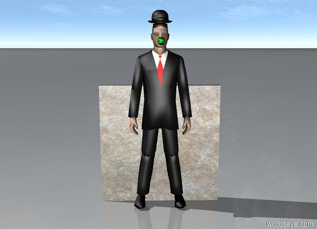 Input text: cloudy sky behind a small stone wall behind a  businessman. a hat is above the businessman. a green small apple is 5.3 feet above the ground and 1 feet in front of the businessman.