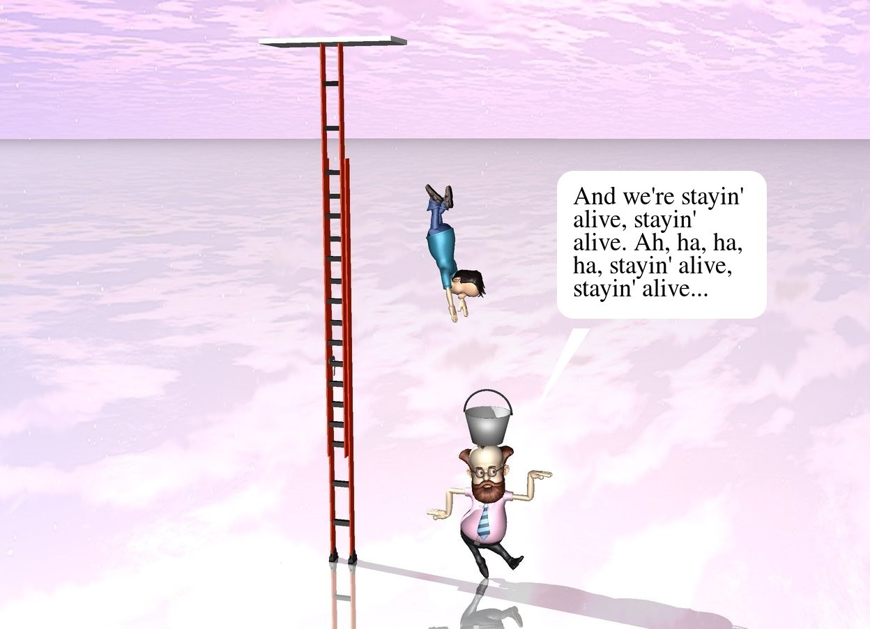 Input text: the ladder is 20 feet tall. it is 1 foot wide. the tiny wall is above the ladder. it is face up. the man is 3 feet to the right of the ladder.  he is 10 feet above the ground. he is face down. he is facing right. a second man is 3 feet to the right of the ladder. the bucket is above the man. the ground is shiny.