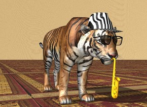 There is a tiger. There is a hat -7 inches above the tiger. The hat is -1 feet in front of the tiger. There are 1 pair of eyeglasses -8 inches in front of the tiger. The pair of eyeglasses is -10 inches above the tiger. There is a tiny instrument -3 inch in front of the tiger. The instrument is 5 inches above the ground. The ground is red rug. The eyeglasses are black. The hat is striped. The sky is fur.