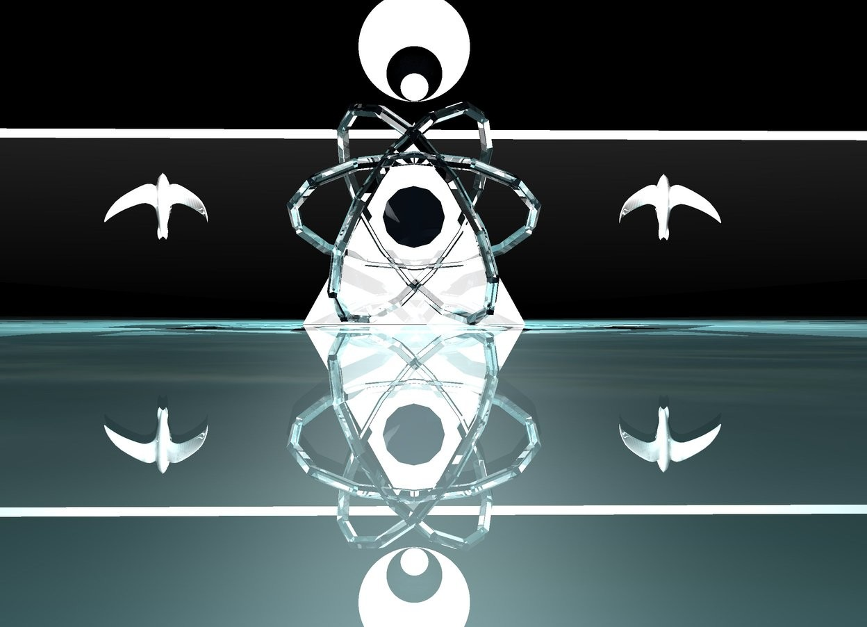 Input text: The ground is shiny water. The sky is water. It is night. A big white pyramid. White light above the pyramid. The pyramid is shiny. A flat sphere behind the pyramid. The sphere is 2 feet above the ground. A black light on the sphere. The first translucent white atom is behind the pyramid. A white light above the atom. A white river 2 feet in front of the sphere. A clear small flat sphere behind the sphere.  A shiny tiny flat sphere behind the sphere. A white bird is 1 feet to the right of the pyramid. The bird is 10 inches above the ground. The bird is facing up. A white bird is 1 feet to the left of the pyramid. The bird is 10 inches above the ground. The bird is facing up. The birds are shiny