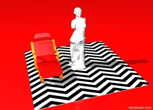 Input text: ground is red . white sculpture on the small floor. sky is red. floor is [zigzag]. red chair is 1  feet to the left of sculpture