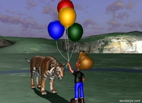 tiger is facing a boy. the boy is facing the tiger