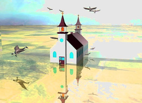 the church. 1st huge goose is  2 feet in front of the church. it faces back. the ground is shiny grass. 1st  huge branta is 2 feet above and 2 feet left of the church.  it leans left. 1st 90 feet tall and 230 feet long silver wall is behind the church. 2nd huge branta is 6 feet right of the church and 6 feet above the ground. it leans right. 4th  very huge branta is 4 feet right of and 1 feet above the church. 5th  very enormous branta is in front of and 3 feet left of the church. it is 8 feet above the ground. it faces northeast. it leans forward.