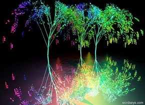 a second rainbow willow.a fourth rainbow willow is 1 feet behind the second rainbow willow.a sixth rainbow willow is 1 feet right of the fourth rainbow willow.the ground is silver.it is night.a red light is above the fourth willow.a cyan light is above the sixth willow.a lavender light is above the second willow.a yellow light is in front of the fourth willow.a green light is behind the sixth willow.a rust light is behind the second willow.