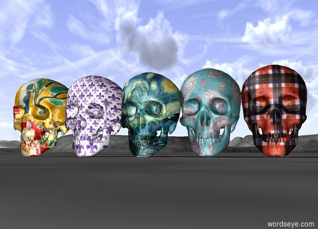 Input text: The large paisley skull to the left of the large plaid skull beside  the large Fleur de lis skull beside the large Matisse skull beside the large Van Gogh skull