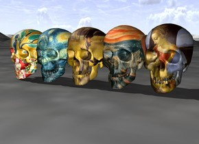 The large Munch skull to the left of the large da Vinci skull beside  the large Degas skull beside the large Matisse skull beside the large Van Gogh skull
