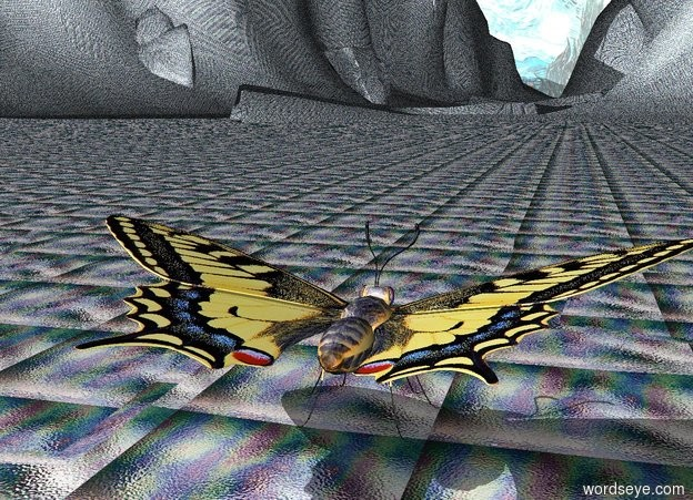 Input text: The Very Enormous Butterfly is facing North. The ground is cyan glass. the background is Van Gogh