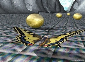 The Very Enormous Butterfly is facing North. The ground is cyan glass. the background is Van Gogh. The gigantic golden egg is 15 feet behind the butterfly to the left. The egg is facing North.The second gigantic very golden egg is 60 feet behind the butterfly to the right. The egg is facing North.The third gigantic golden egg is 90 feet behind the butterfly to the left. The fourth gigantic golden egg is 180 feet behind the butterfly.