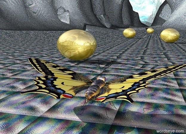 Input text: The Very Enormous Butterfly is facing North. The ground is cyan glass. the background is Van Gogh. The gigantic golden egg is 15 feet behind the butterfly to the left. The egg is facing North.The second gigantic very golden egg is 60 feet behind the butterfly to the right. The egg is facing North.The third gigantic golden egg is 90 feet behind the butterfly to the left. The fourth gigantic golden egg is 180 feet behind the butterfly.