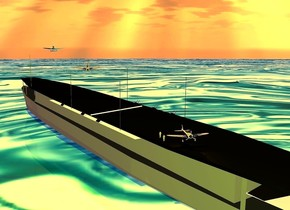 a gray aircraft carrier is -6.5 feet above the ground. 1st small silver  plane is -52 feet to the front and -68.5 feet left of the aircraft carrier. it is -0.1 feet above the aircraft carrier. it faces back. it leans back. 2nd small shiny silver plane is -110 feet to the back of and -54 feet left of the aircraft carrier. it is -7.2 feet above the aircraft carrier. it faces back. it leans   to the front. a 15 feet tall and 0.3 feet wide tube is -65 feet to the back of the aircraft carrier. it leans 82 degrees to the right. it is -16.7 feet above the aircraft carrier. 3rd  small silver plane is -45 feet to the back and -19 feet above the aircraft carrier. it is -35 feet left of the aircraft carrier. it is -18 feet above the aircraft carrier. it faces back. 1st tiny orange man is right of the 3rd plane. the ground is [water]. the [water] is 500 feet tall. the sun's altitude is 78 degrees. the sun's azimuth is 40 degrees. 2nd tiny orange man is 3 feet in front of the 1st man. a orange light is above the 3rd plane. the sun is orange. the ambient light is pink. the camera light is chartreuse