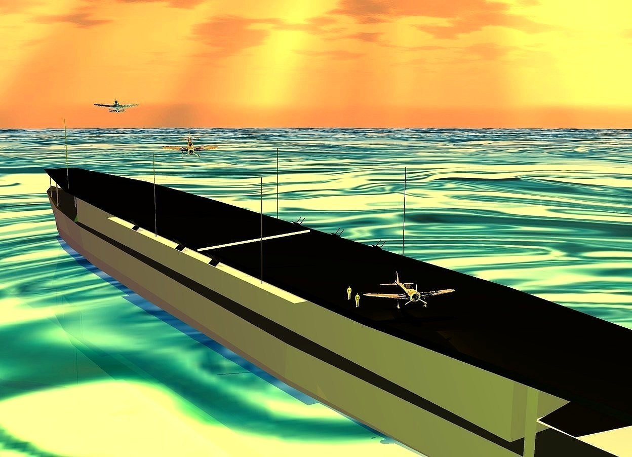 Input text:  a gray aircraft carrier is -6.5 feet above the ground. 1st small silver  plane is -52 feet to the front and -68.5 feet left of the aircraft carrier. it is -0.1 feet above the aircraft carrier. it faces back. it leans back. 2nd small shiny silver plane is -110 feet to the back of and -54 feet left of the aircraft carrier. it is -7.2 feet above the aircraft carrier. it faces back. it leans   to the front. a 15 feet tall and 0.3 feet wide tube is -65 feet to the back of the aircraft carrier. it leans 82 degrees to the right. it is -16.7 feet above the aircraft carrier. 3rd  small silver plane is -45 feet to the back and -19 feet above the aircraft carrier. it is -35 feet left of the aircraft carrier. it is -18 feet above the aircraft carrier. it faces back. 1st tiny orange man is right of the 3rd plane. the ground is [water]. the [water] is 500 feet tall. the sun's altitude is 78 degrees. the sun's azimuth is 40 degrees. 2nd tiny orange man is 3 feet in front of the 1st man. a orange light is above the 3rd plane. the sun is orange. the ambient light is pink. the camera light is chartreuse
