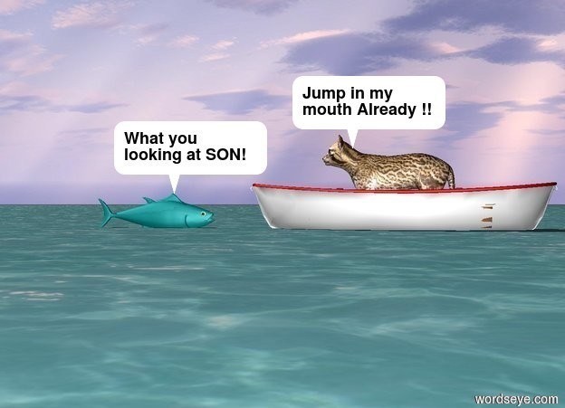 Input text: A large cat is in a large boat on the ocean.  There is a fish 2 feet on the left of the boat. The fish is facing the boat. The large cat is facing the fish. The large  boat is facing the fish.