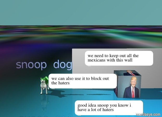 "Input text:  The shiny purple ""snoop dog"" is 1 foot above the  big green dog. the green fish is 0.5 feet below from the clear red ""dank memes"".the very large [donald] is 1 foot to the south of the grey wall.   the ground is [lol]. the sky is green turquoise."